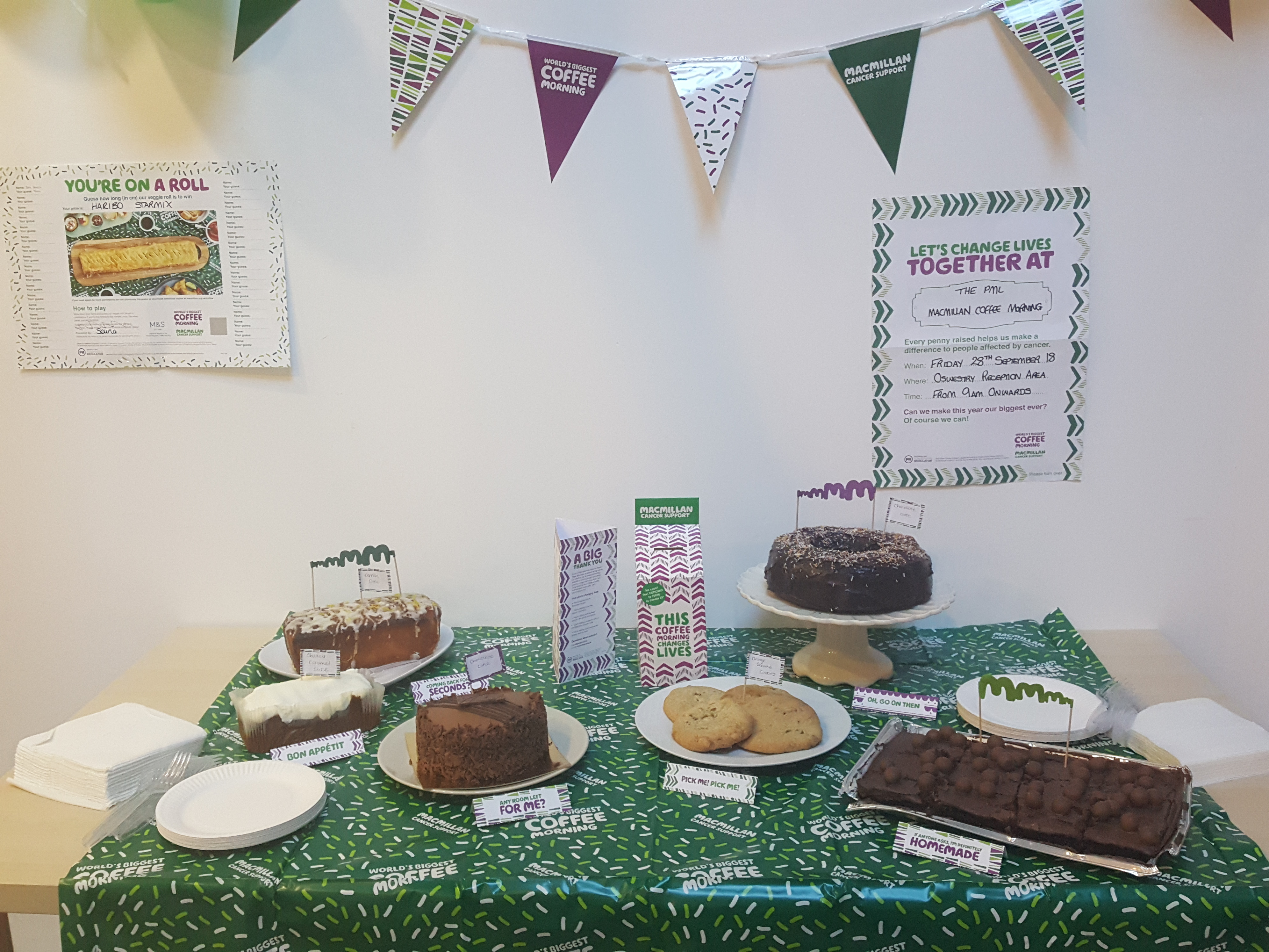 Oswestry office Macmillan cake stand